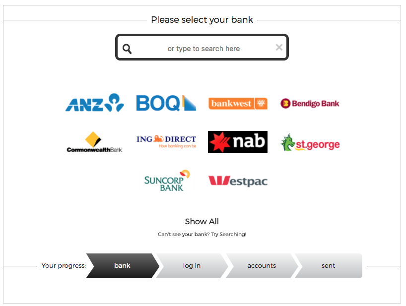 Select your bank from the list, or type your bank in to find it.