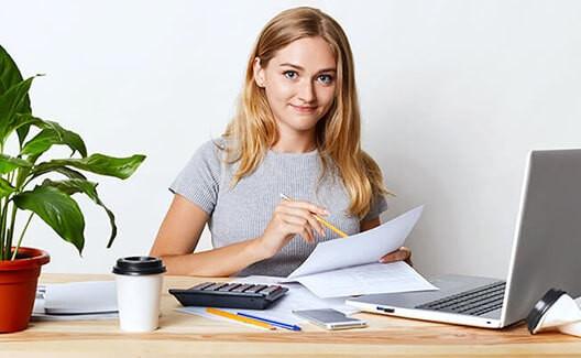woman working on desk