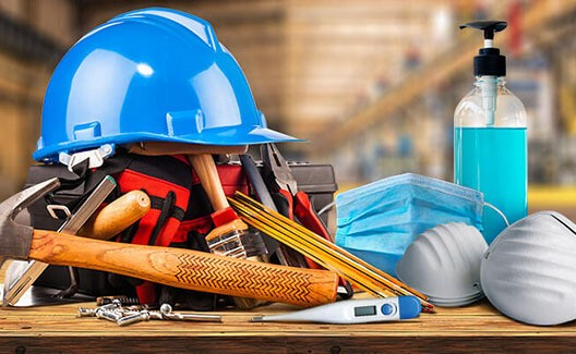 blue tradie hard hat with tools and surgical masks