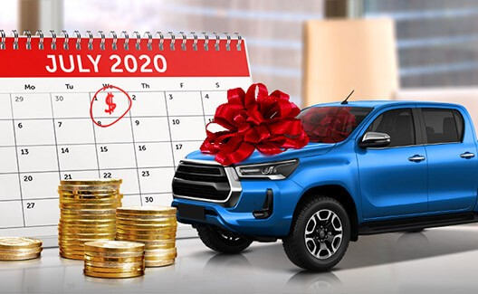 blue ute with a red ribbon with calendar and coins stack background