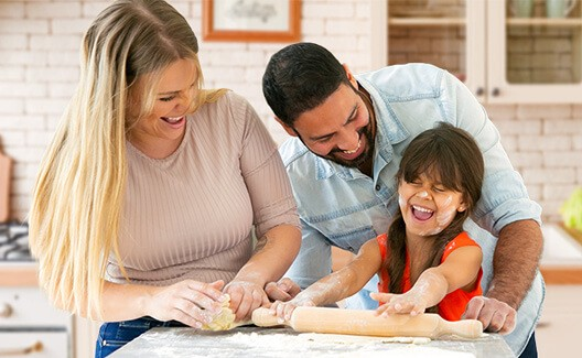 happy family baking