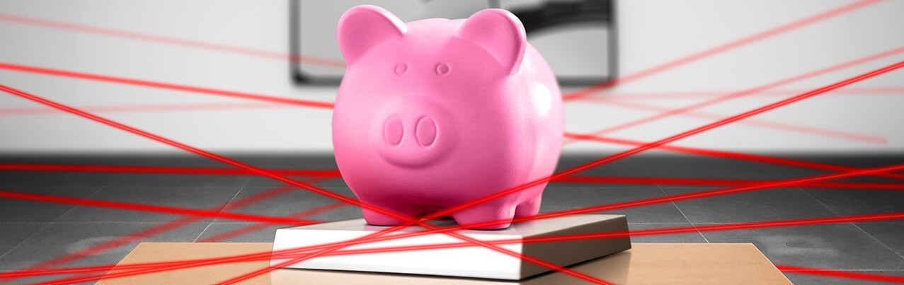 piggy bank with laser beam security